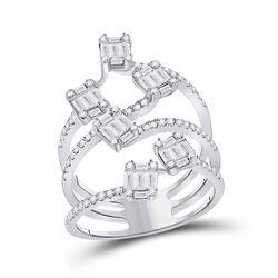 14kt White Gold Womens Baguette Diamond Cluster Strand Fashion Ring 1 Cttw