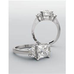 Natural 1.02 CTW 3-Stone Princess Cut & Half Moons Diamond Ring 14KT White Gold
