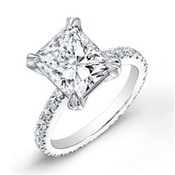 Natural 2.52 CTW Radiant Cut Diamond Engagement Ring 18KT White Gold