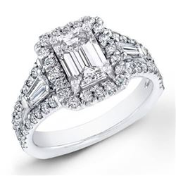 Natural 3.37 CTW Halo Emerald Cut & Baguette Diamond Ring 18KT White Gold