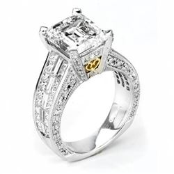 Natural 7.92 CTW Emerald Cut Diamond Engagement Ring 18KT Two Tone