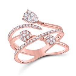 14kt Rose Gold Womens Round Diamond Abstract Fashion Ring 1/2 Cttw