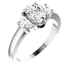 Natural 1.42 CTW Oval Cut & Half Moons 3-Stone Diamond Ring 18KT White Gold