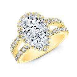 Natural 2.87 CTW Halo Pear Cut Tear Drop Split Shank Diamond Ring 18KT Yellow Gold