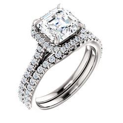 Natural 2.02 CTW Halo Asscher Cut Diamond Engagement Set 14KT White Gold