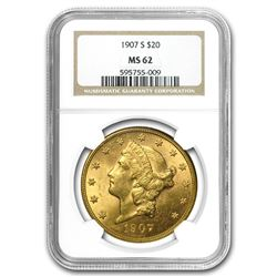 1907-S $20 Liberty Gold Double Eagle MS-62 NGC