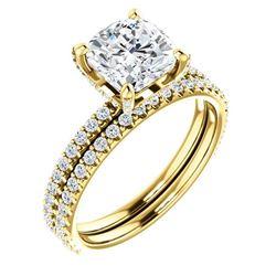 Natural 3.22 CTW Halo Cushion Cut Diamond Ring 14KT Yellow Gold