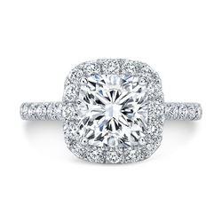 Natural 2.77 CTW Halo Cushion Cut Diamond Ring 14KT White Gold