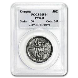 1938-D Oregon Commemorative Half Dollar MS-64 PCGS