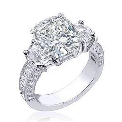 Natural 2.92 CTW Cushion Cut & Half Moons Diamond Ring 18KT White Gold