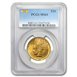 $10 Indian Gold Eagle MS-61 PCGS (Random)