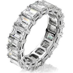 Natural 4.02 CTW Emerald Cut Diamond Eternity Ring 18KT White Gold