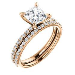 Natural 1.52 CTW Princess Cut Diamond Engagement Set 14KT Rose Gold