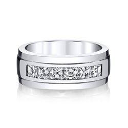 Natural 1.52 CTW Men's Asscher Cut Diamond Wedding Ring 18KT White Gold