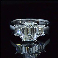 Natural 2.72 CTW 3-Stone Diamond Engagement Ring 18KT White Gold