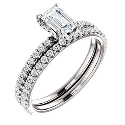 Natural 1.72 CTW Halo Emerald Cut Diamond Ring 14KT White Gold