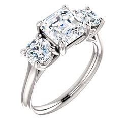 Natural 2.62 CTW 3-Stone Asscher Cut & Rounds Diamond Engagement Ring 18KT White Gold
