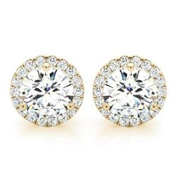 Natural 1.42 CTW Halo Round Brilliant Cut Diamond Stud Earrings 18KT Yellow Gold