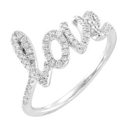 Natural 0.27 CTW Love Script Diamond Ring 18KT White Gold