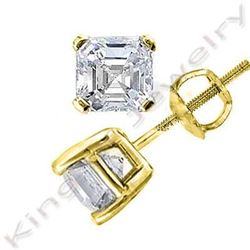 Natural 1.42 CTW Asscher Cut Diamond Stud Earrings 14KT Yellow Gold