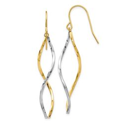 14k Two-tone Twist Dangle Earrings
