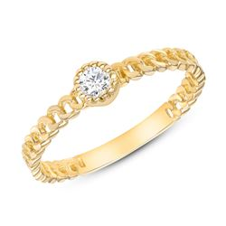 Natural 0.12 CTW Princess Diamond Cuban Band 14KT Yellow Gold