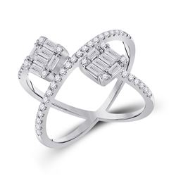 14kt White Gold Womens Baguette Diamond Negative Space Fashion Ring 3/4 Cttw