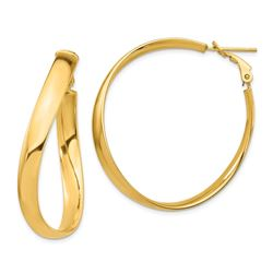 14k Wavy Omega Back Hoop Earrings - 5x39 mm