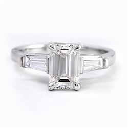 Natural 2.07 CTW Emerald Cut & Baguettes 3-Stone Diamond Ring 14KT White Gold