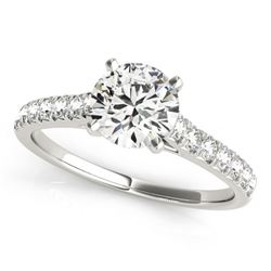 Natural 1.45 ctw Diamond Solitaire Ring 14k White Gold