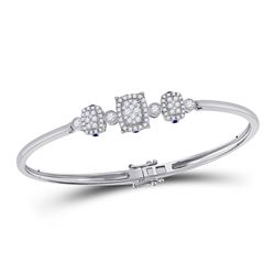 14kt White Gold Womens Round Diamond Triple Cluster Bangle Bracelet 7/8 Cttw