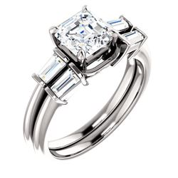 Natural 1.72 CTW Asscher Cut & Baguette Diamond Bridal Set 18KT White Gold