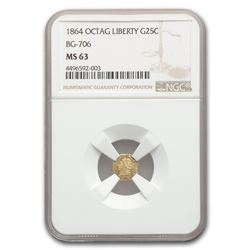 1864 Liberty Octagonal 25 Cent Gold MS-63 NGC (BG-706)