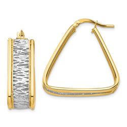 14k Yellow Gold & Rhodium Diamond Cut Triangle Hoop Earrings
