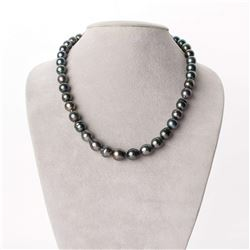 "Dark Green and Peacock Tahitian Baroque Pearl Necklace, 18"", 8.4-10.9mm, AA+ Quality"