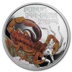 2014 Tuvalu 1 oz Silver Spider Hunting Scorpion Proof
