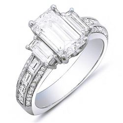 Natural 3.82 CTW Emerald Cut & Baguettes Diamond Engagement Ring 14KT White Gold