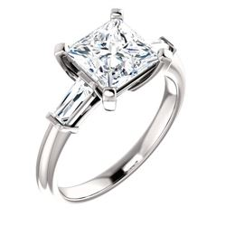 Natural 2.02 CTW Princess Cut & Baguettes 3-Stone Diamond Ring 14KT White Gold