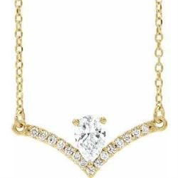 Natural 0.4 CTW Pear Diamond Chandelier Necklace 18KT Yellow Gold