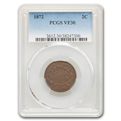 1872 Two Cent Piece VF-30 PCGS