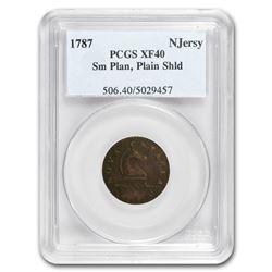 1787 New Jersey Copper Cent Sm Planchet, Plain Shield XF-40 PCGS