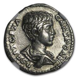 Roman AR Denarius Emperor Geta (209-211 AD) XF NGC