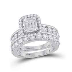 14kt White Gold Baguette Diamond Bridal Wedding Ring Band Set 2-1/5 Cttw
