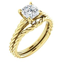 Natural 1.02 CTW Cushion Cut Infinity Rope Diamond Engagement Set 18KT Yellow Gold