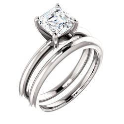 Natural 1.02 CTW Asscher Cut Diamond Engagement Ring 14KT White Gold
