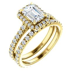 Natural 3.12 CTW Halo Emerald Cut Diamond Engagement Ring 18KT Yellow Gold