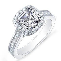 Natural 2.2 CTW Halo Asscher w/ Round & Princess Cut Diamond Engagement Ring 14KT White Gold
