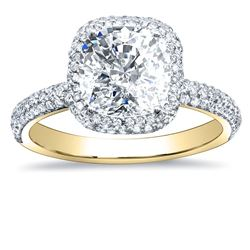 Natural 3.22 CTW Cushion Cut Halo Diamond Engagement Ring 14KT Yellow Gold