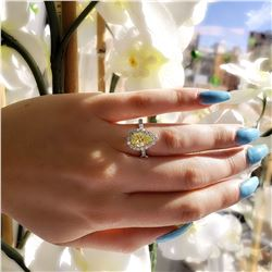 Natural 3.62 CTW Halo Canary Light Yellow Pear Shape Diamond Ring 18KT Two-tone