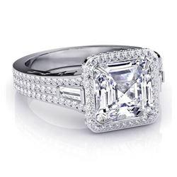 Natural 2.32 CTW Halo Asscher Cut Diamond Engagement Ring 18KT White Gold